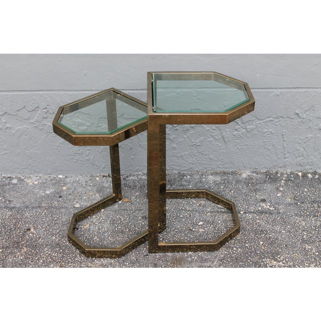 Mid-Century 2 Tier Brass Glass Nesting Tables - A Pair - Image 11 of 11
