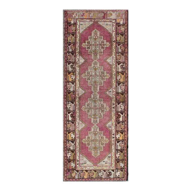 Keivan Woven Arts Vintage Oushak Runner With Geometric Medallions in Purple and Brown For Sale