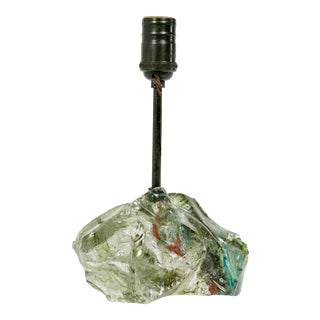 Sea Green Red Flecked Cullet Glass Lamp For Sale
