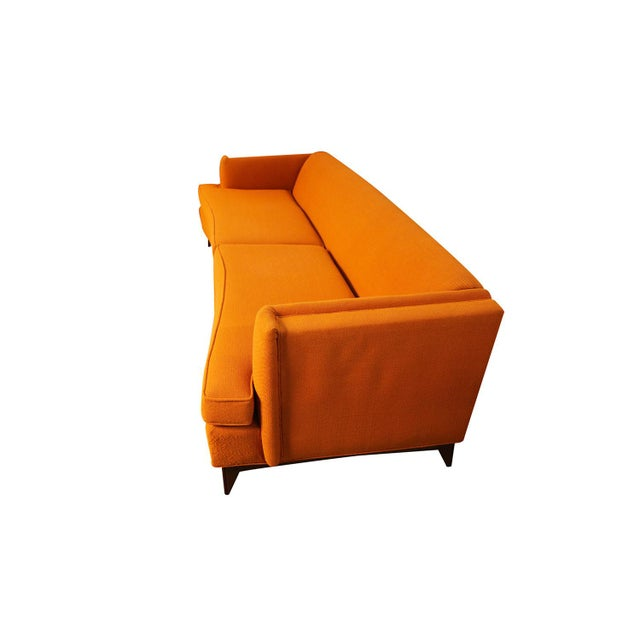Mid-Century Modern Mid Century Modern Orange Upholstered Curved Sofa For Sale - Image 3 of 12