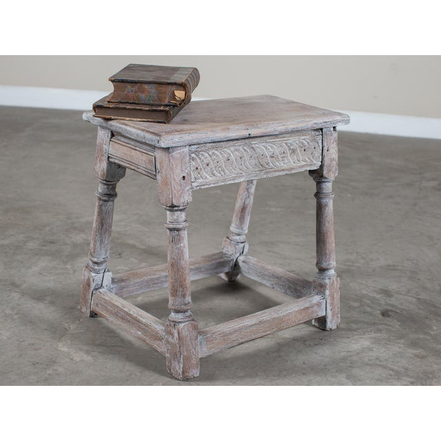 White Antique English Limed Oak Joint Stool circa 1890 For Sale - Image 8 of 11