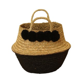 Brunna Black Belly Straw Basket Bag - Pom-Pom Basket, Nursery Basket For Sale