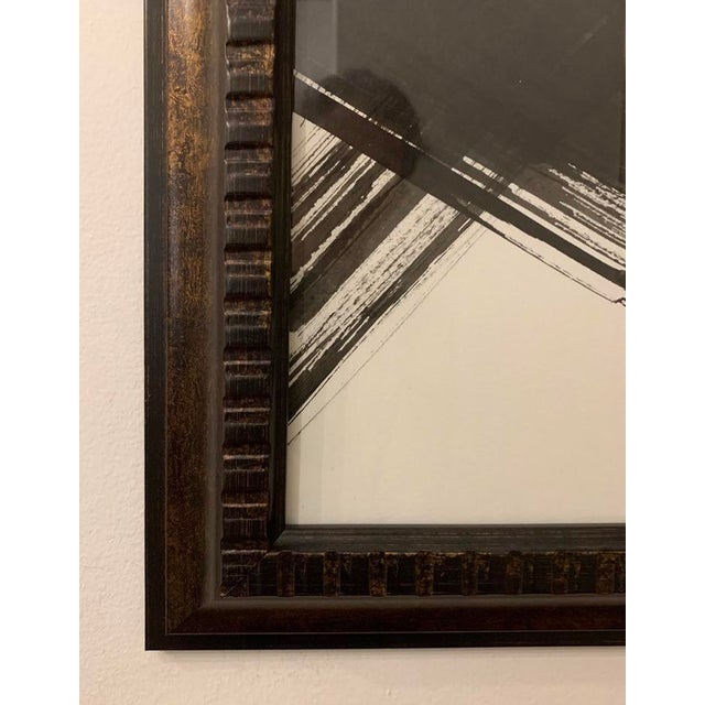 Original abstract black and white ink painting on paper Framed in bronze metallic finish, ready to hang 20 in. square