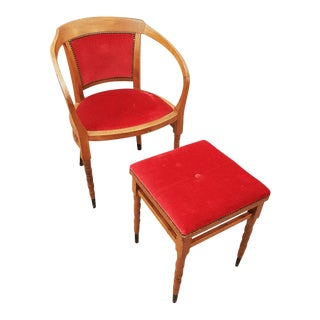 Red Velvet Antique Oak Armchair and Footstool For Sale