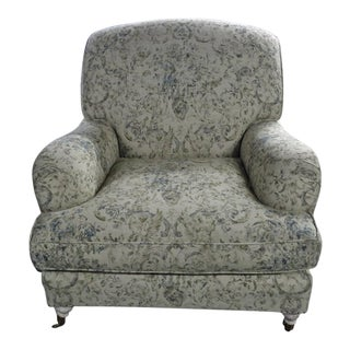 20th Century Traditional White Cotton Armchair For Sale
