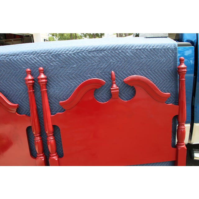 Americana Hollywood Regency Georgian Gloss Red Twin Headboards - a Pair For Sale - Image 3 of 7