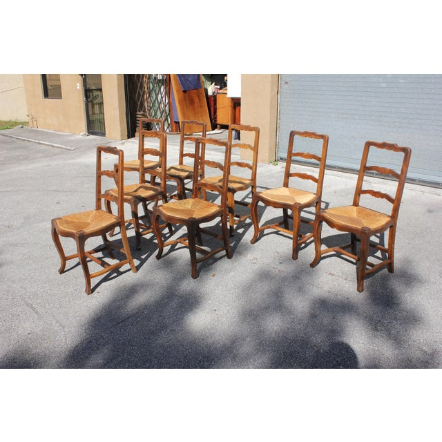 Early 20th C. Vintage French Country Rush Seat Walnut Dining Chairs - Set of 8 For Sale - Image 4 of 13