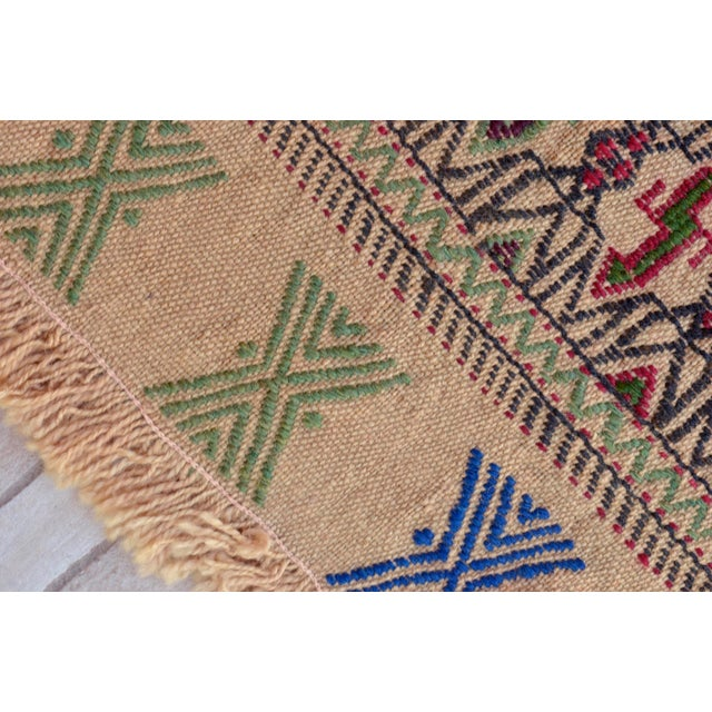 "Vintage Braided Kilim Rug Turkish Hand Woven WoolRug Sofreh - 3' X 3'10"" For Sale In Raleigh - Image 6 of 9"