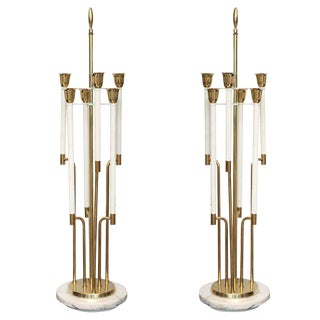Large Pair of Brass and Marble Table Lamps For Sale