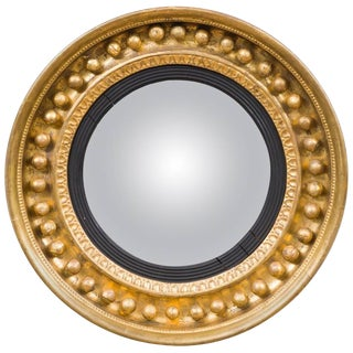 Antique Regency Period Giltwood Convex Mirror For Sale