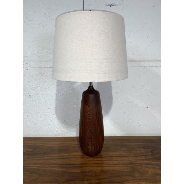 Wood Vintage Mid Century Solid Walnut Table Lamp For Sale - Image 7 of 7