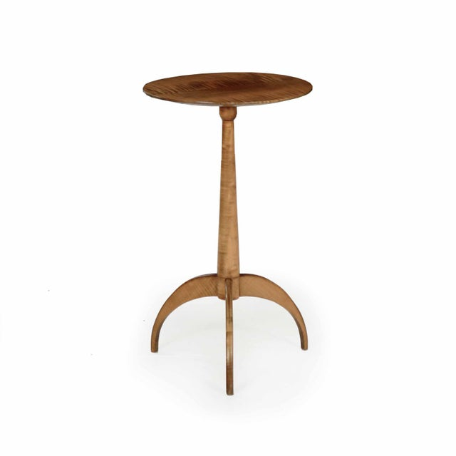 American Shaker Style Handmade Tiger Maple Candlestand Side Table For Sale - Image 11 of 11