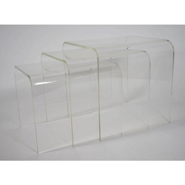 Set of Three Lucite Nesting Tables - Image 5 of 7