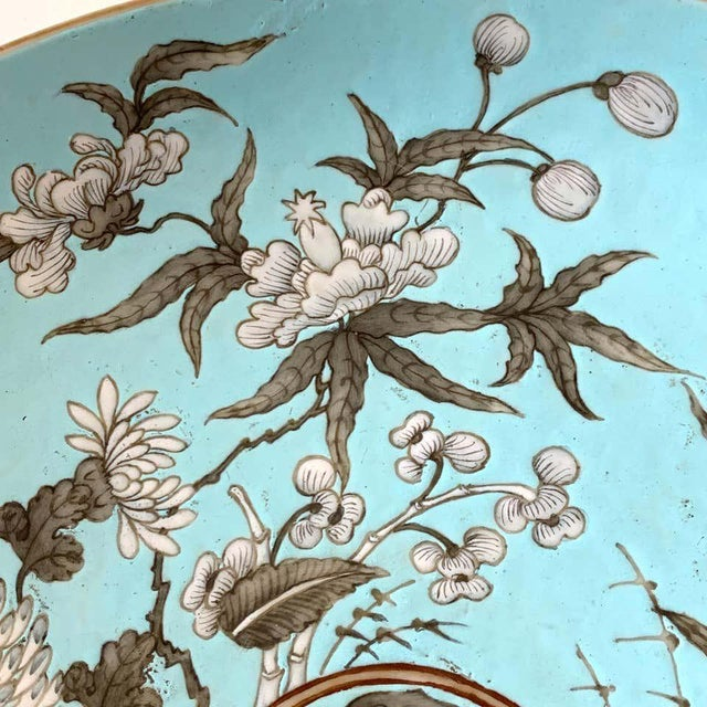 Blue 19th Century Chinese Export Powder Blue Ho Ho Bird Motif Charger For Sale - Image 8 of 12