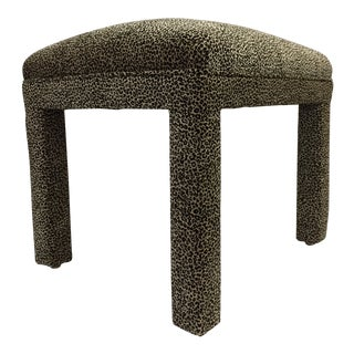 1980s Upholstered Leopard Print Parsons Stool
