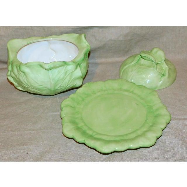 Ceramic Vintage Ceramic Cabbage Vegetable Server For Sale - Image 7 of 8