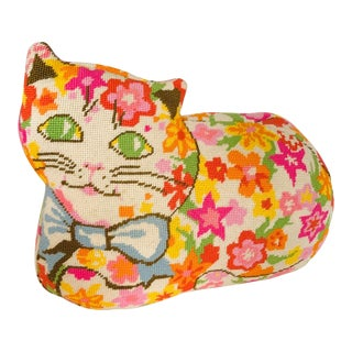 Vintage 1960s Cat Shaped Needlepoint Pillow For Sale