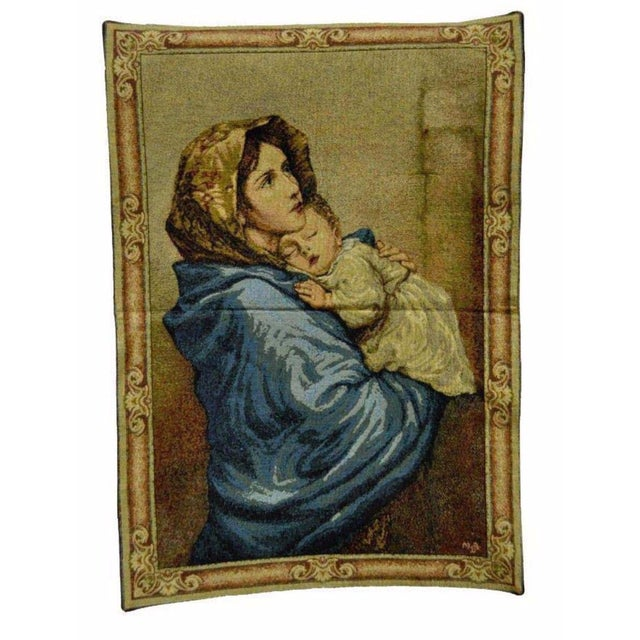 "25""x 18"" French Wall Hanging Tapestry Aubusson Mother and Child Madonna Ferruzzi For Sale In Philadelphia - Image 6 of 6"