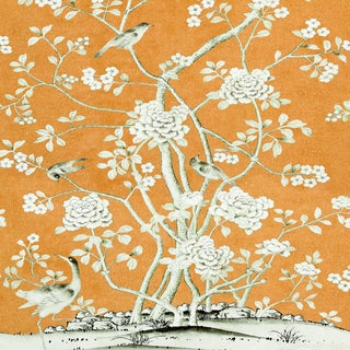 Schumacher X Mary McDonald Chinois Palais Wallpaper in Tangerine For Sale