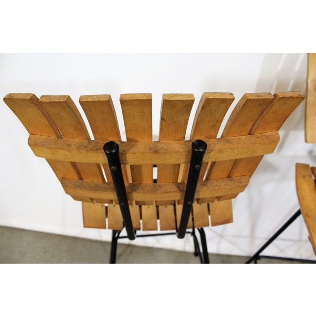 Black Set of 3 Mid-Century Danish Modern Arthur Umanoff Style Swivel Slat Bar Stools For Sale - Image 8 of 11