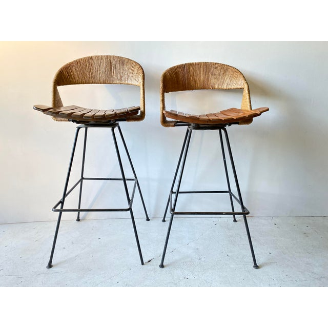 Vintage Arthur Umanoff Iron Wicker Back Counter Height Barstools- A Pair For Sale - Image 11 of 11