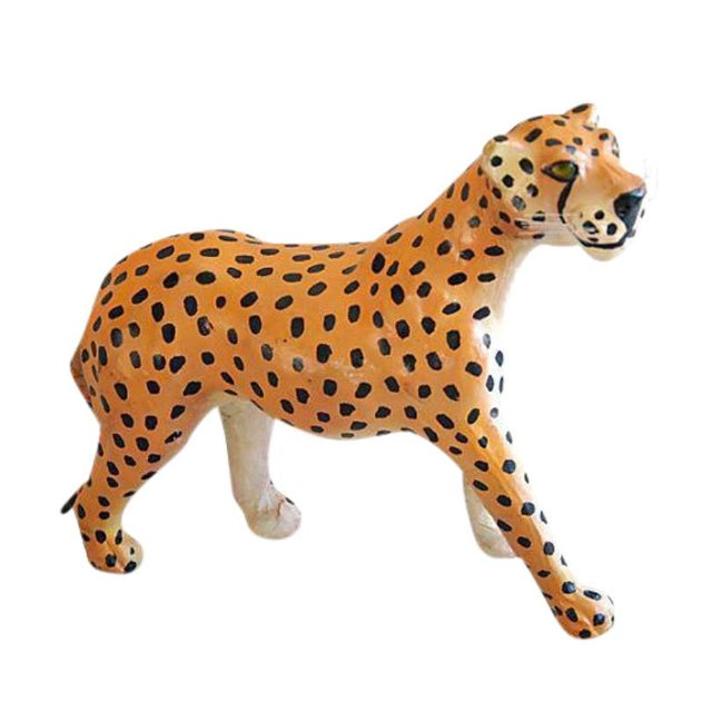 Hand Painted Vintage Leather Cheetah For Sale In Charleston - Image 6 of 6