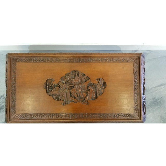 Wood Carved Chinese Coffee Table For Sale - Image 7 of 10