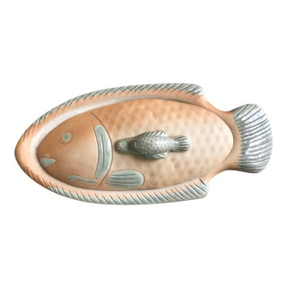 Vintage Terracotta Covered Fish Platter For Sale