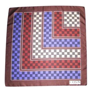 1970s Vintage Lanvin Paris Modernist Brown Burgundy Purple Geometric Print Silk Scarf For Sale
