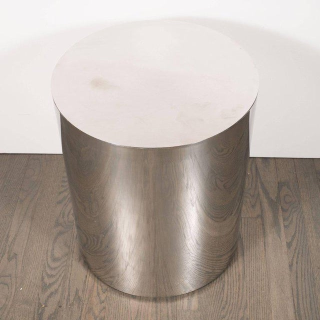Mid-Century Modern American Mid-Century Modern Cylindrical Chrome Side Table or Pedestal For Sale - Image 3 of 6