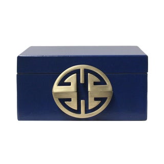 Oriental Round Hardware Royal Blue Rectangular Container Box Medium For Sale