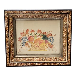 "Fine 19th Century American Theorem Stencil ""Fruit Basket"" Painting For Sale"