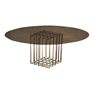 Dinning Table by Pierre Cardin With Original Smoked Glass Top For Sale