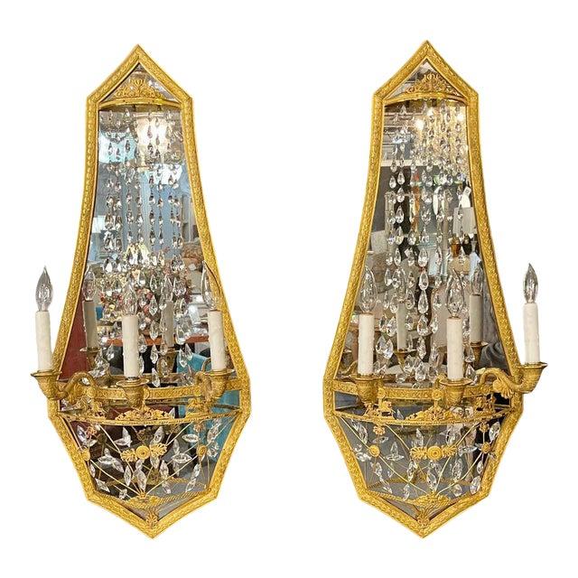 Maison Baguès Mirrored Wall Lights, Sconces or Girandoles - a Pair For Sale