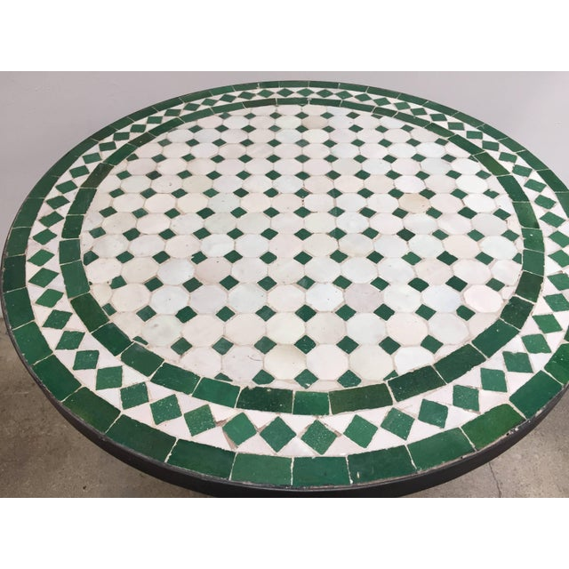 Islamic 20th Century Moroccan Mosaic Tile Bistro Table on Iron Base For Sale - Image 3 of 5