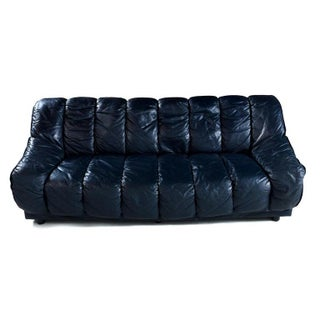 Dark Blue Italian Leather Sofa in the Manner of De Sede Preview