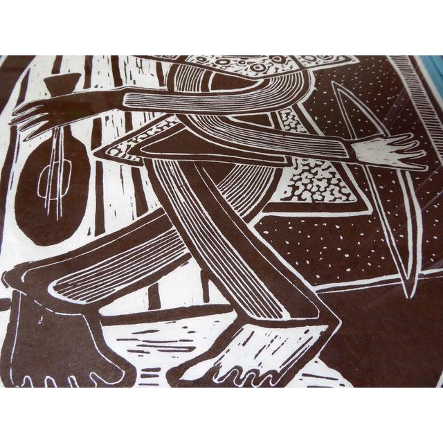 Original Mid Century Cubist Woodblock - Image 4 of 7