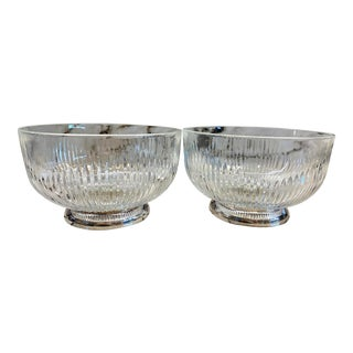Silver & Glass Salad Bowls, Pair For Sale