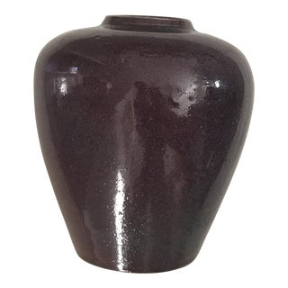 "9"" Vintage Amethyst 1980's Studio Ceramic Vase - Signed Original"