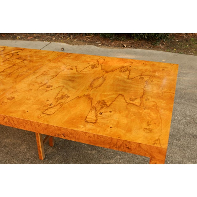 Mid-Century Modern Magnificent Restored Butterfly Patterned Olivewood Dining Table by Milo Baughman for Directional For Sale - Image 3 of 11