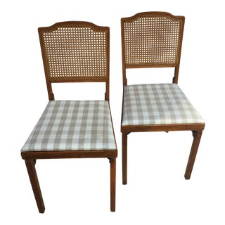 Cane & Wood Folding Chairs - A Pair