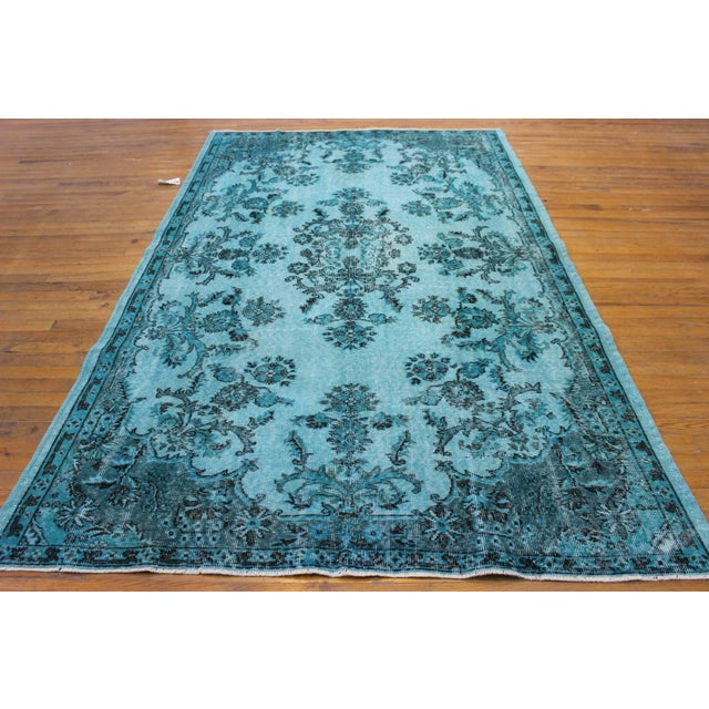 "Aqua Over-Dyed Turkish Oushak Rug - 5'7"" x 9'1"" - Image 3 of 6"