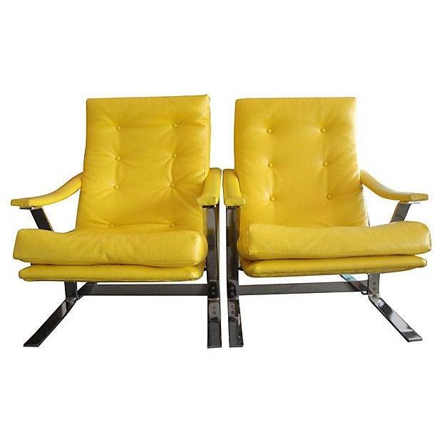 Yellow Naugahyde Armchairs - A Pair - Image 1 of 6