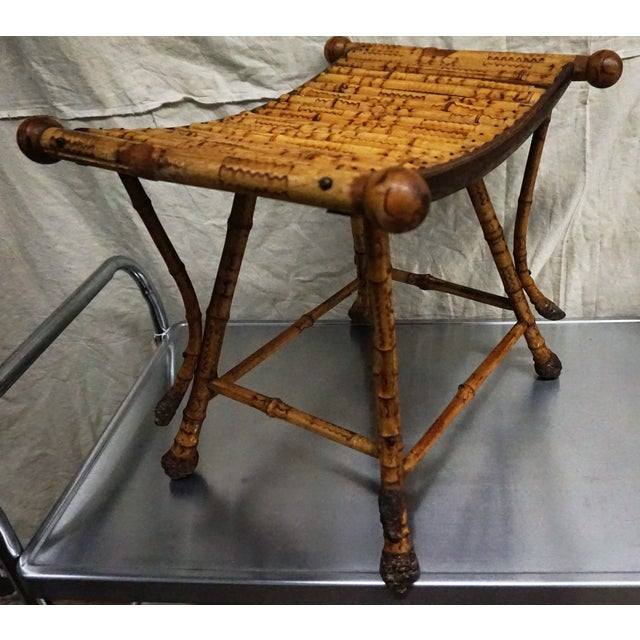 Victorian Burnt Bamboo Stool - Image 6 of 8
