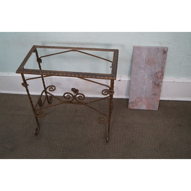 Antique Wrought Iron Marble Top Side Table - Image 8 of 10