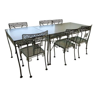 Italian Mid-Century Modern Wrought Iron and Glass Dining Set For Sale