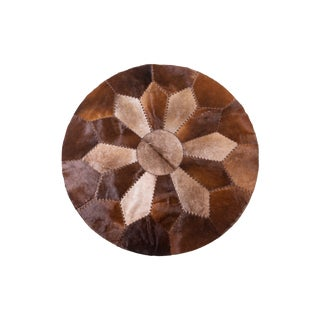 Handmade Cowhide Patchwork Area Round Rug - 5'2""