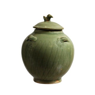 Chinese Handmade Ceramic Gray Green Bird Motif Jar For Sale