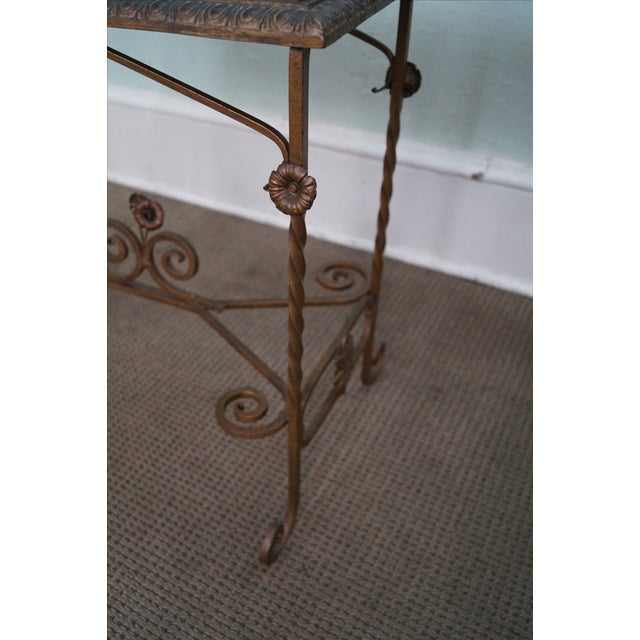 Antique Wrought Iron Marble Top Side Table - Image 7 of 10