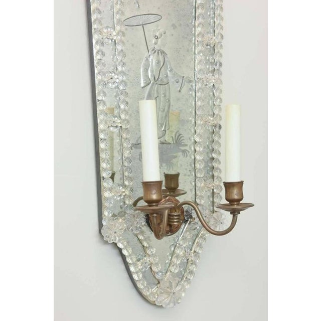 Opposing Pair of Etched Venetian Mirrored Sconces. Circa 1940s. For Sale - Image 4 of 8